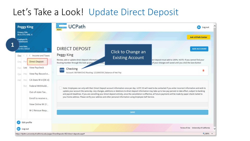 Screen shot of direct deposit:change and existing account