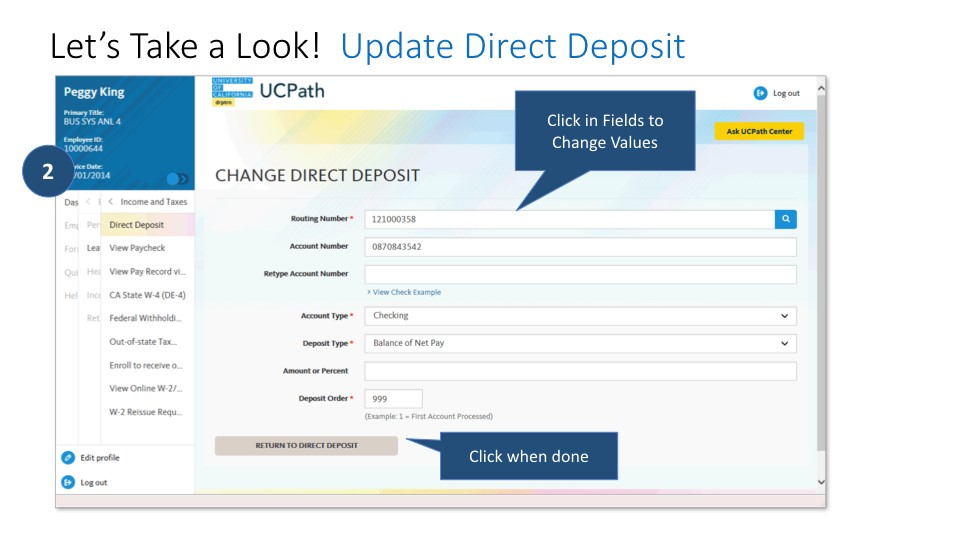 Screen shot of direct deposit: click in fields to change values