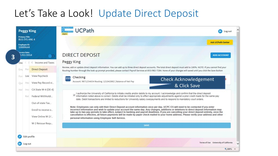 Screen shot of direct deposit: check acknowledgement and click save