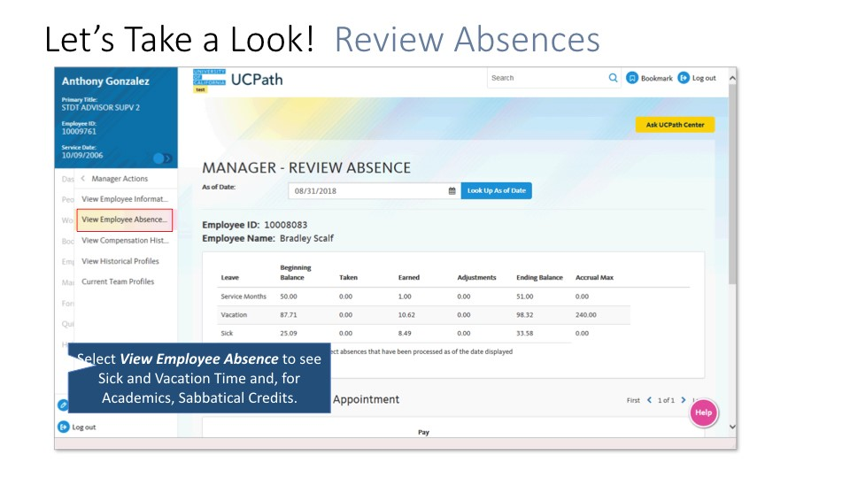 Screen shot of Managers portal: review absences