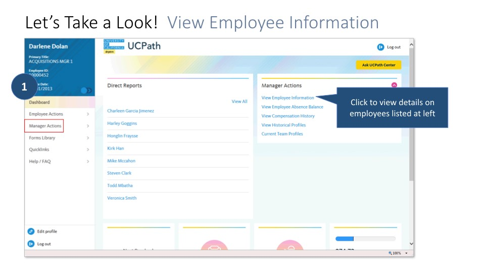 Screen shot of Manager Portal: view details on employees