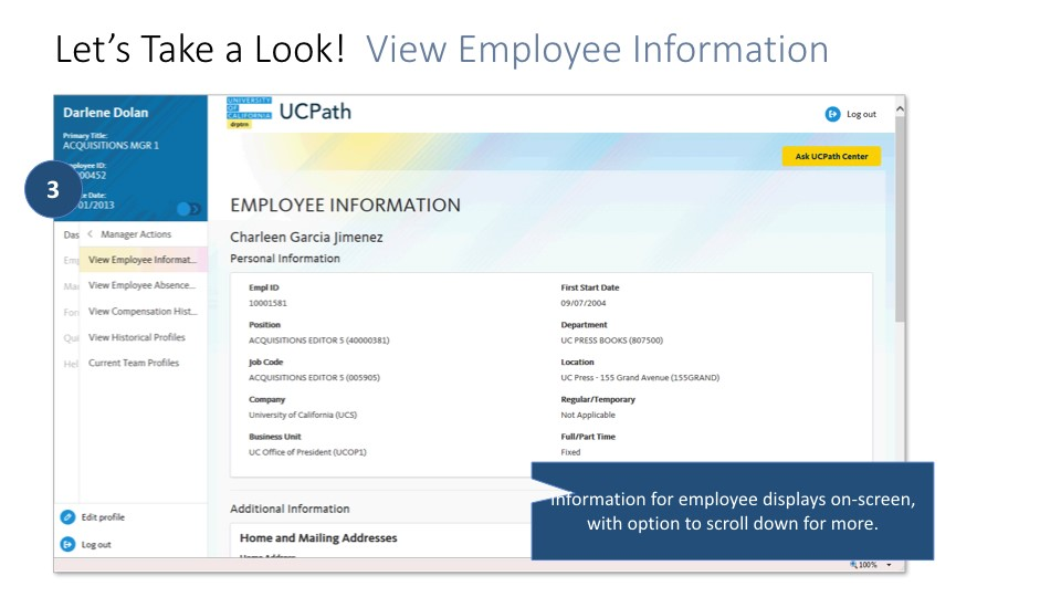 Screen shot of Managers portal: view employee information