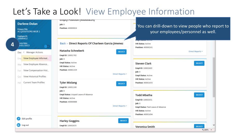 Screen shot of Managers portal: drill down into details