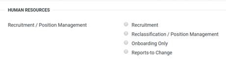 Screen capture of the Reports-to Change form selection in AggieService, located in the Human Resources Recruitment/Position Management section.