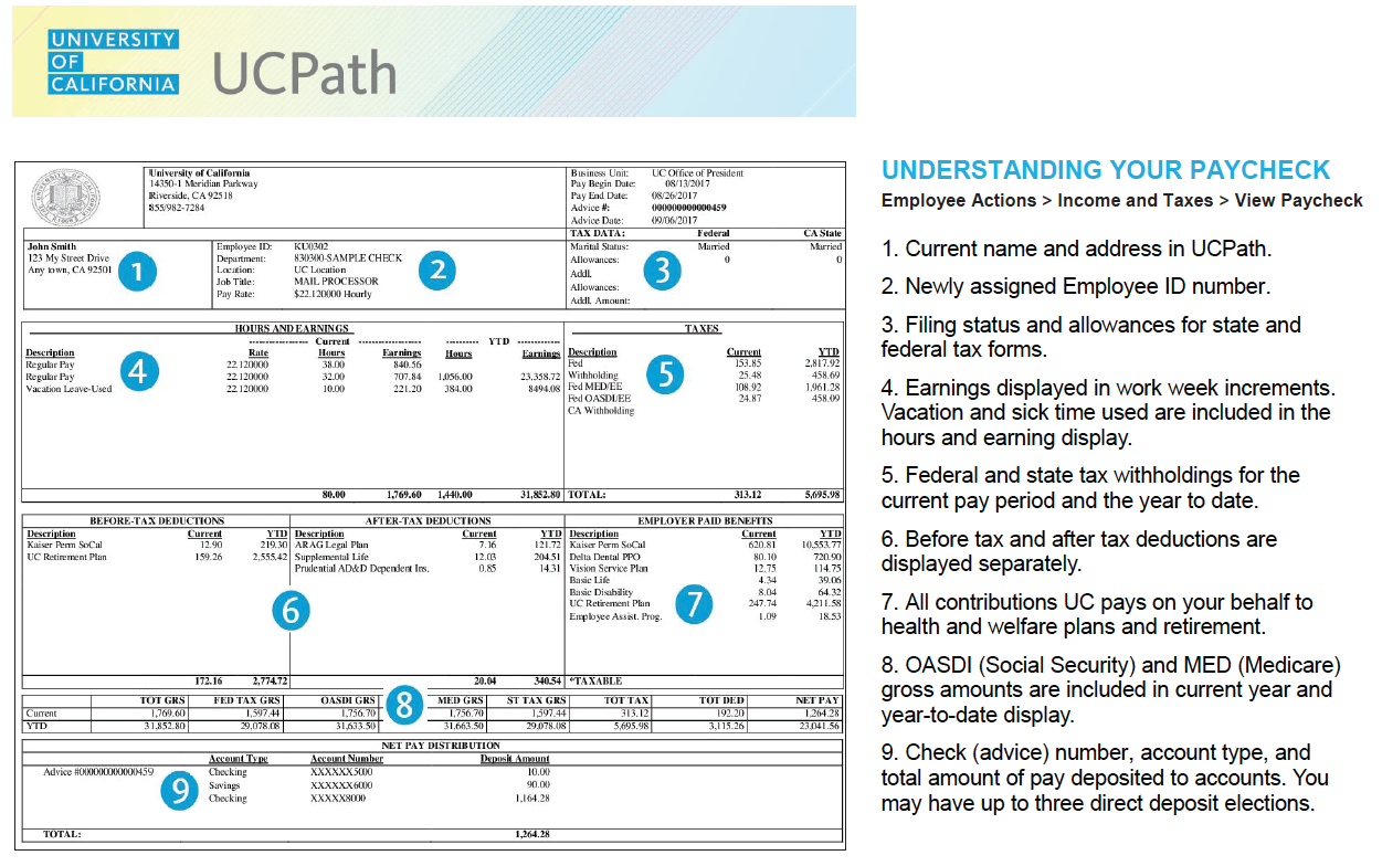View of new UCPath paystub