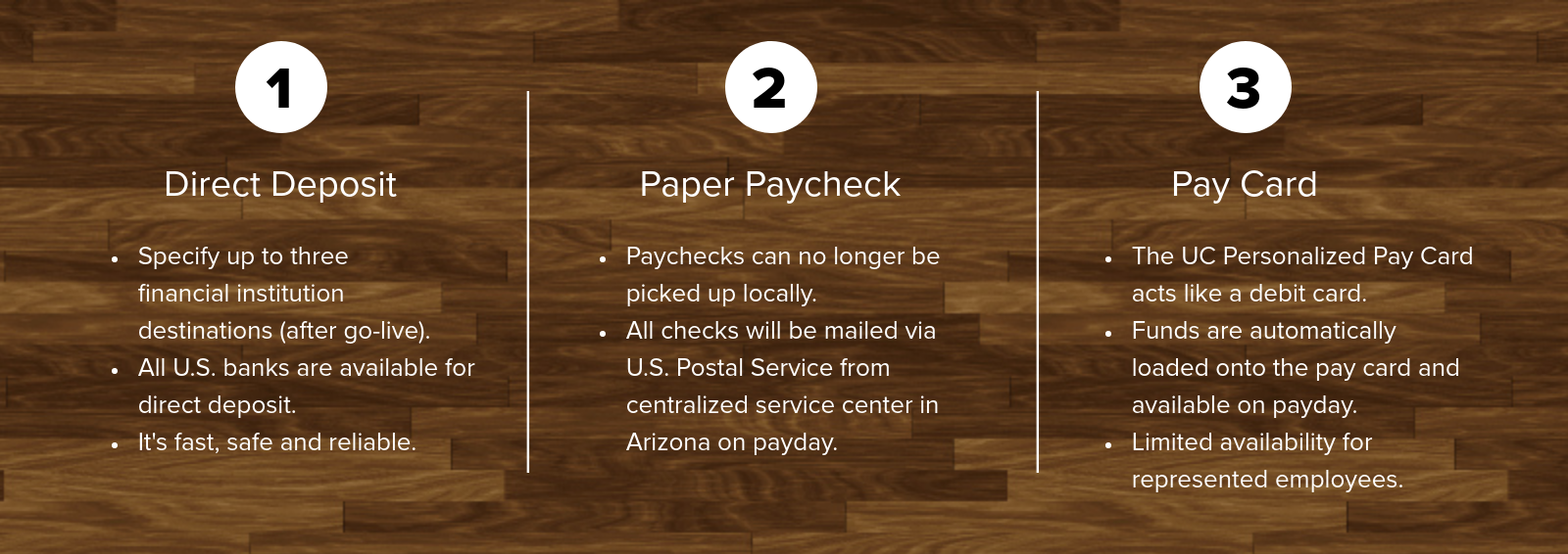 Pay options include direct deposit, paper paycheck and pay card.