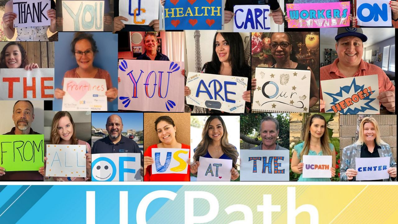 Collage of UCPath Center employees spelling out a thank you message to UC Health frontline employees