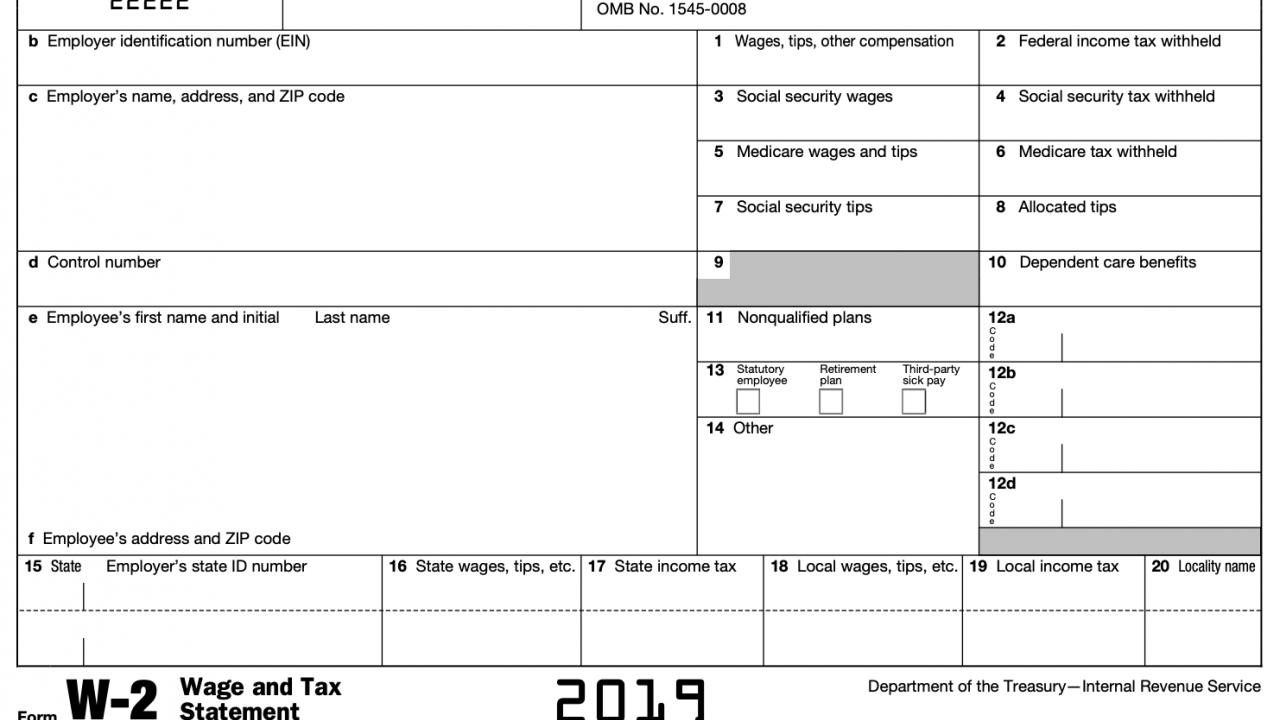 Screen capture of a W-2 form